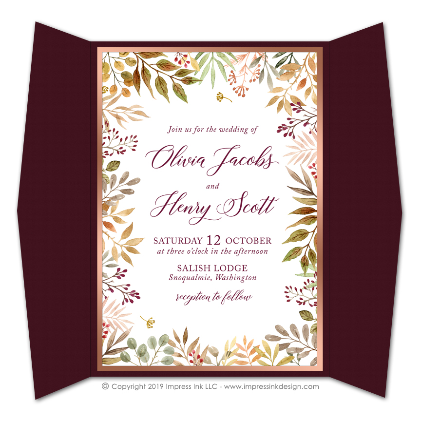 autumn leaves gate fold invitations impress ink stationery