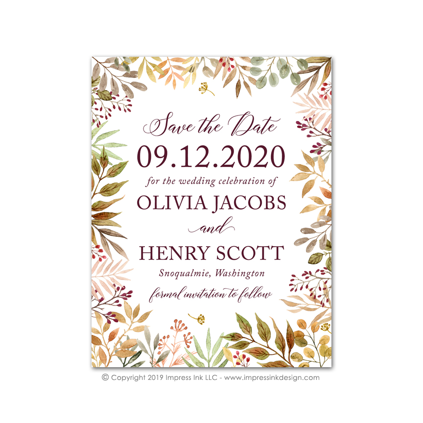 autumn leaves save the dates impress ink stationery design studio