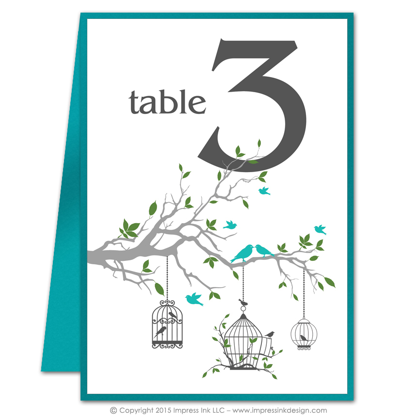 Birdcage table numbers impress ink stationery design for Table design numbers