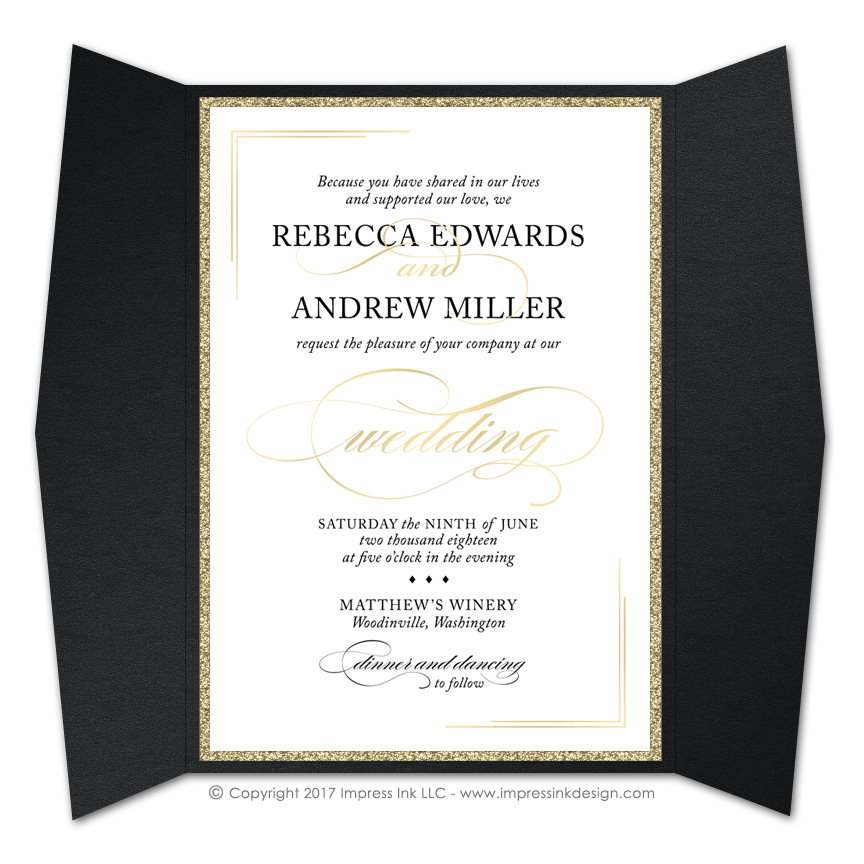 black tie 2 gate fold invitations impress ink stationery design