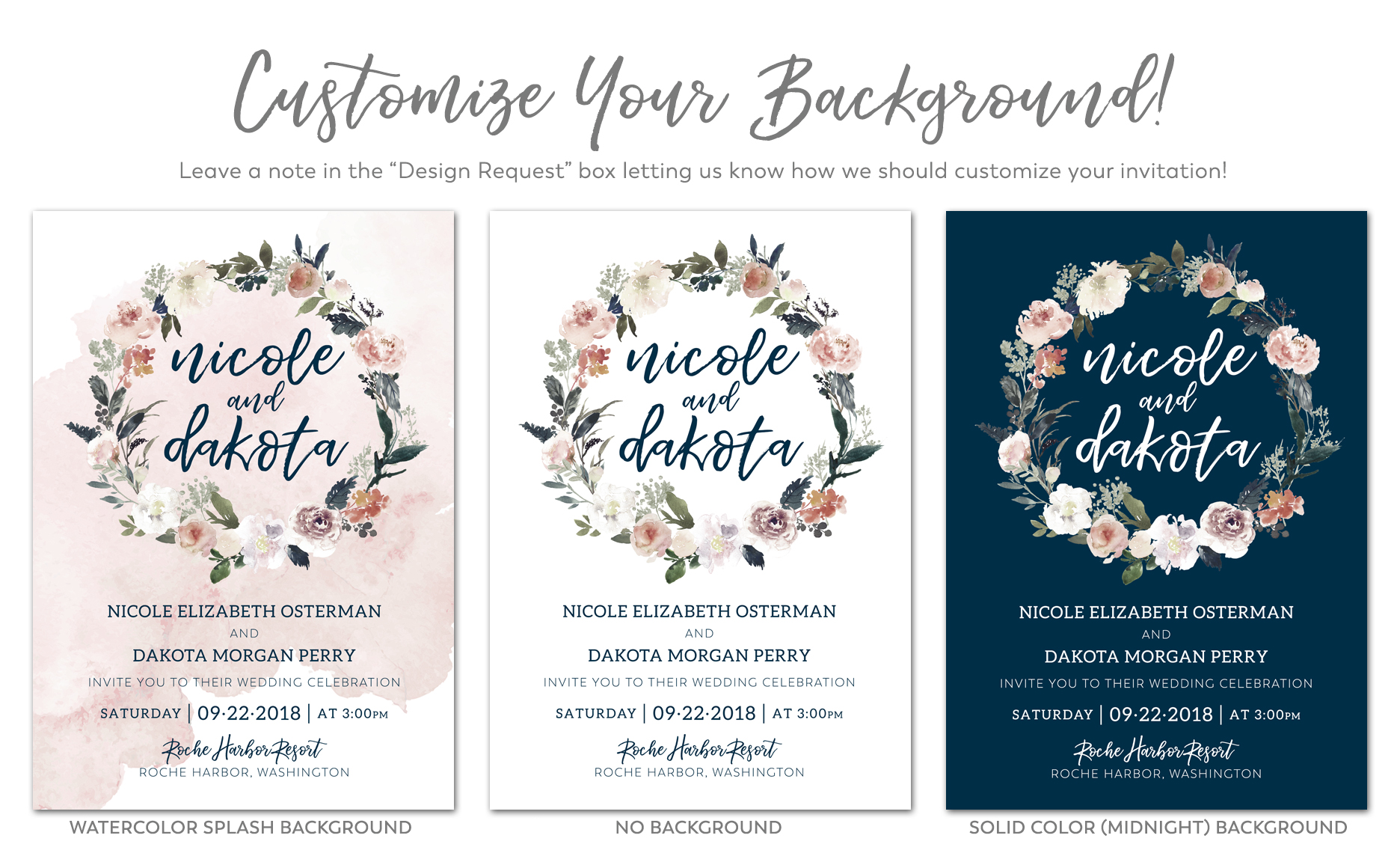 Boho Floral Gate Fold Invitations – Impress Ink – Stationery Design ...