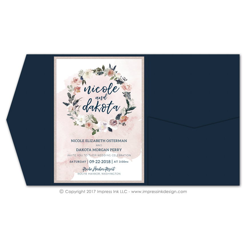 Boho Floral Pocket Invitations Impress Ink Stationery Design Studio