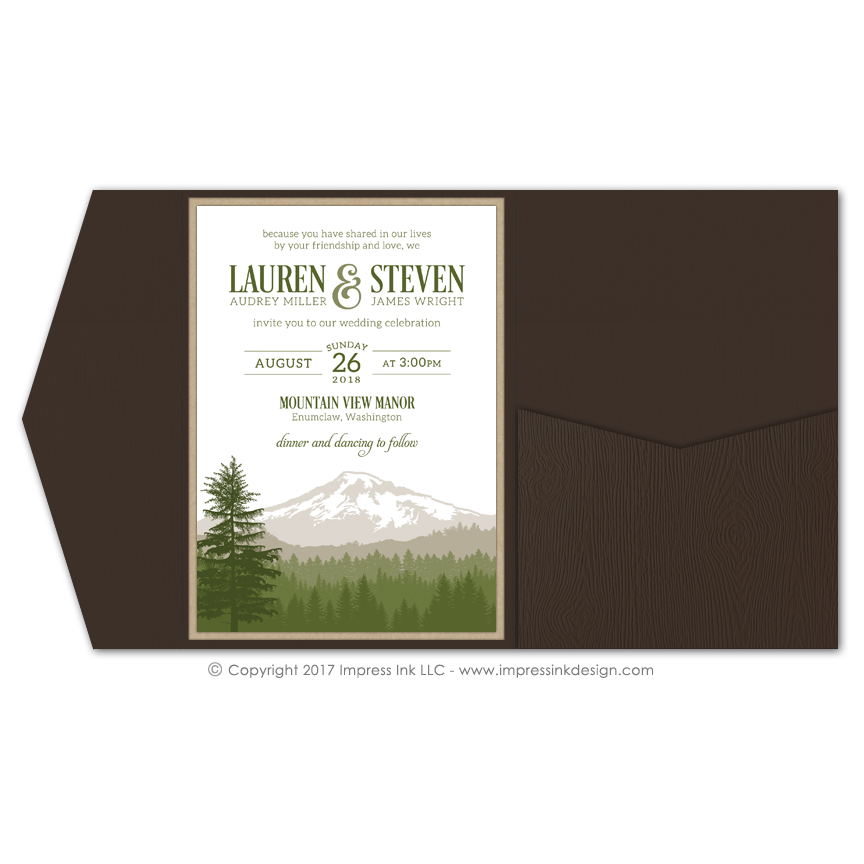 Cascade Mountains Pocket Invitations Impress Ink Stationery
