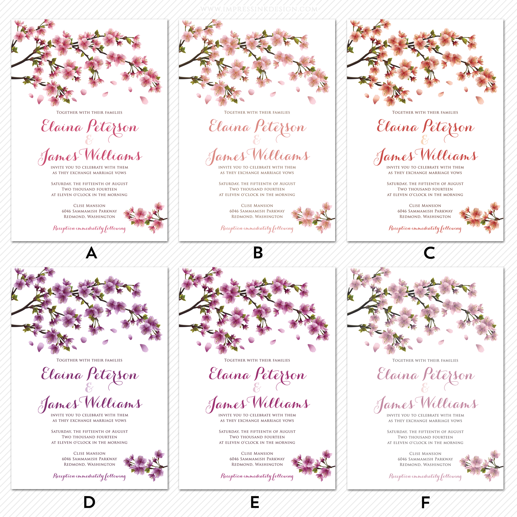 cherry blossoms flat invitations impress ink stationery design