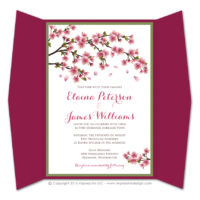 Cherry Blossoms Gatefold Invitations