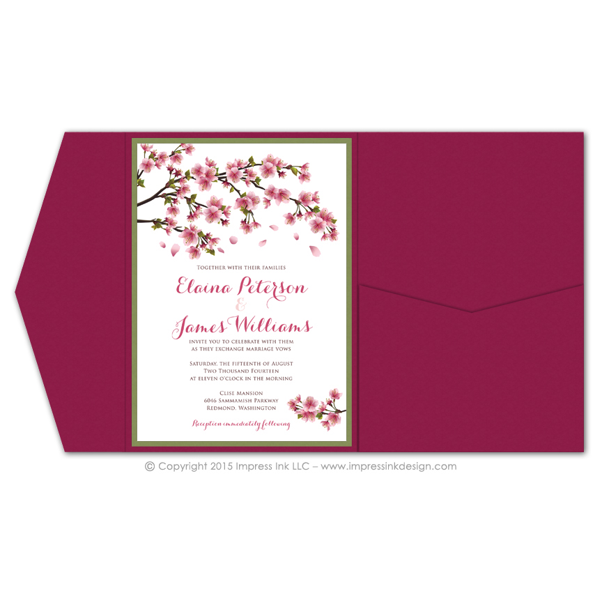 cherry blossoms pocket invitations impress ink stationery design