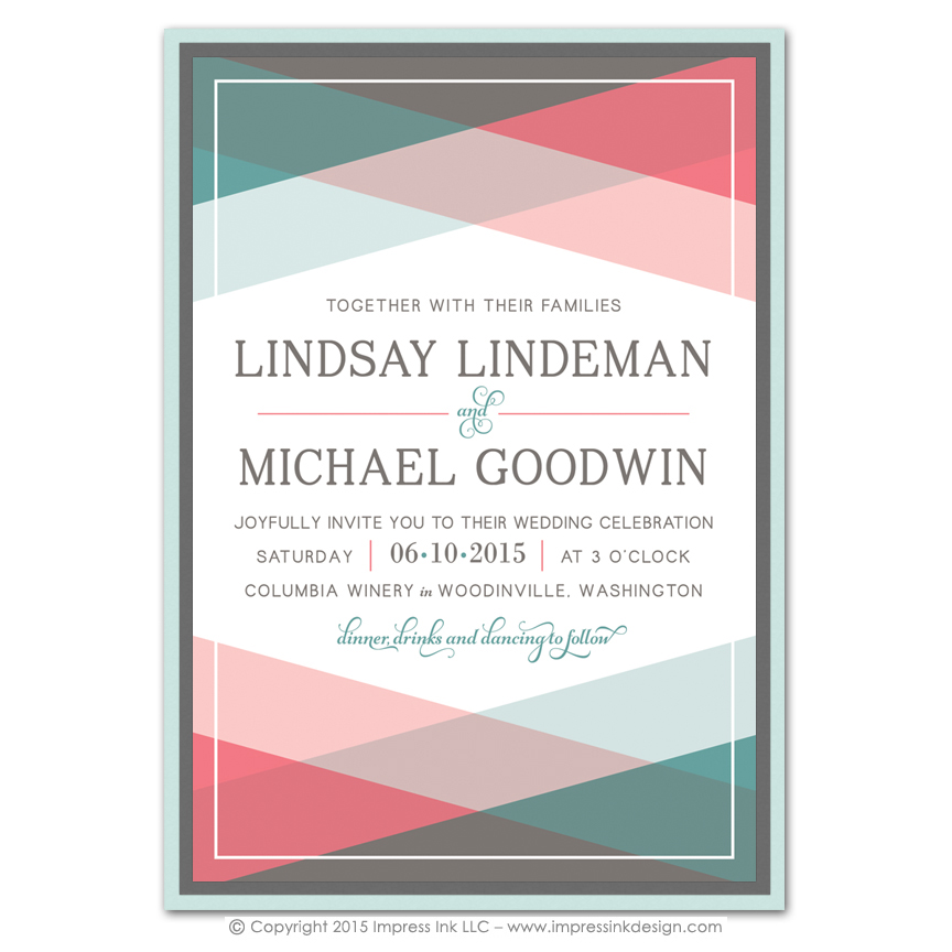 color block layered invitations impress ink stationery design studio