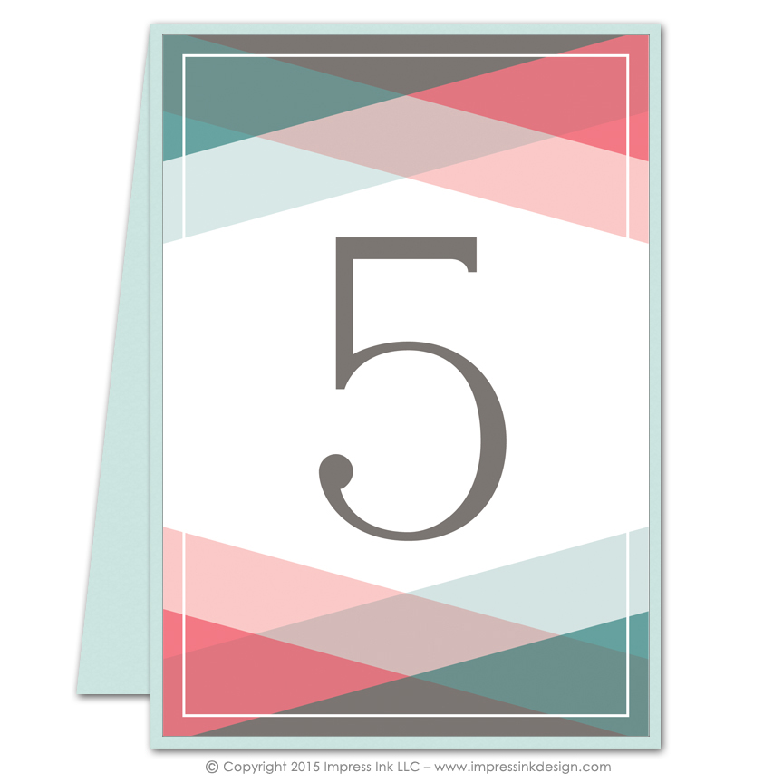 Color block table numbers impress ink stationery for Table design numbers