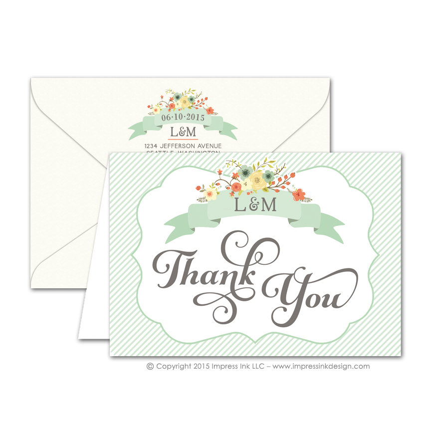 Country Chic Thank You Cards Impress Ink Stationery Design Studio