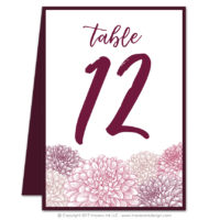 Dahlias Table Numbers