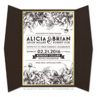 Etched Botanicals Gatefold Invitations