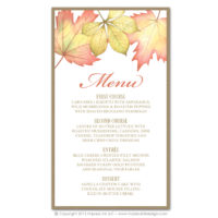 Fall Foliage Menus