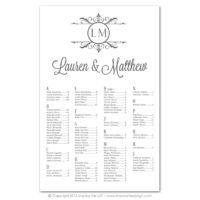 Filigree Monogram Seating Charts
