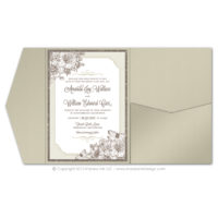 French Peony Pocket Fold Invitations