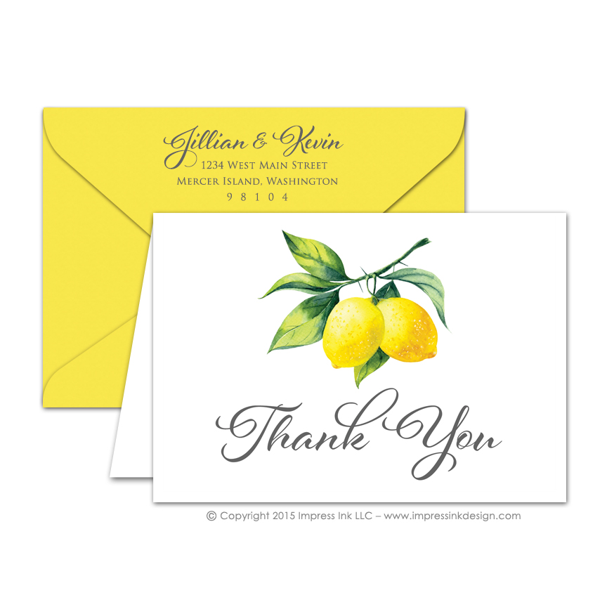 Watercolor Lemon Thank You Cards