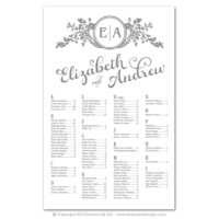 Ornate Monogram Seating Charts