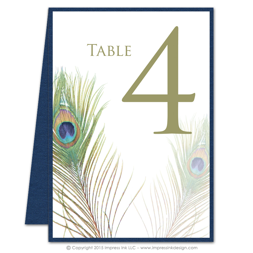 Peacock table numbers impress ink stationery design studio for Table design numbers