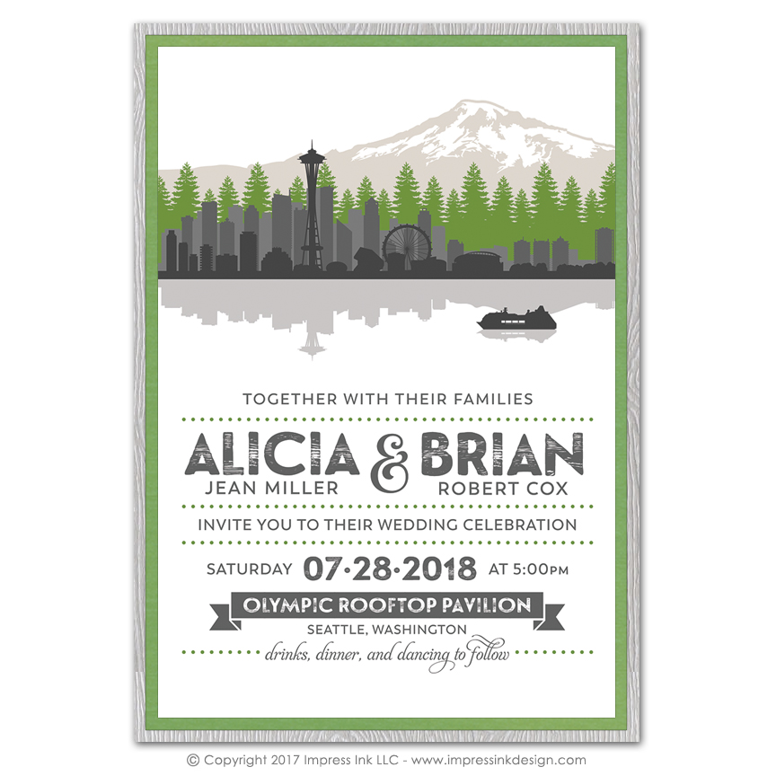 seattle layered invitations impress ink stationery design studio