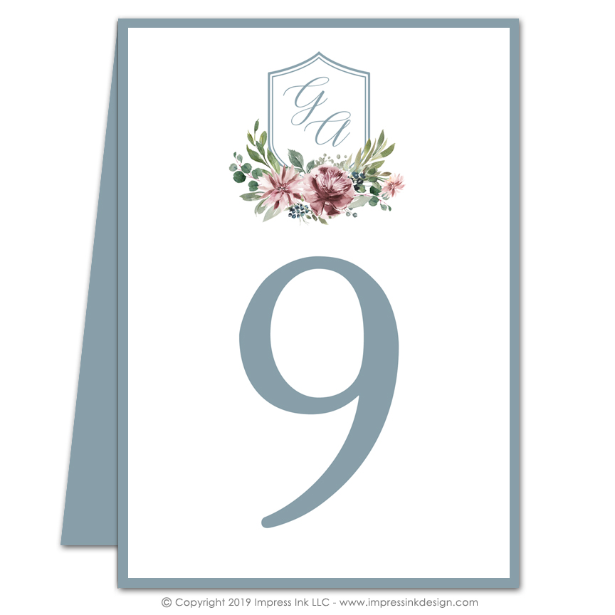 Vintage floral table numbers impress ink stationery for Table design numbers