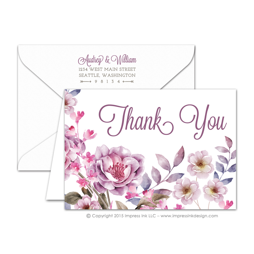 watercolor flowers thank you cards impress ink stationery design