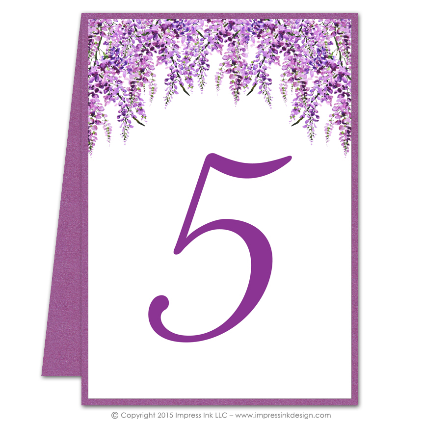 Wisteria table numbers impress ink stationery design for Table design numbers